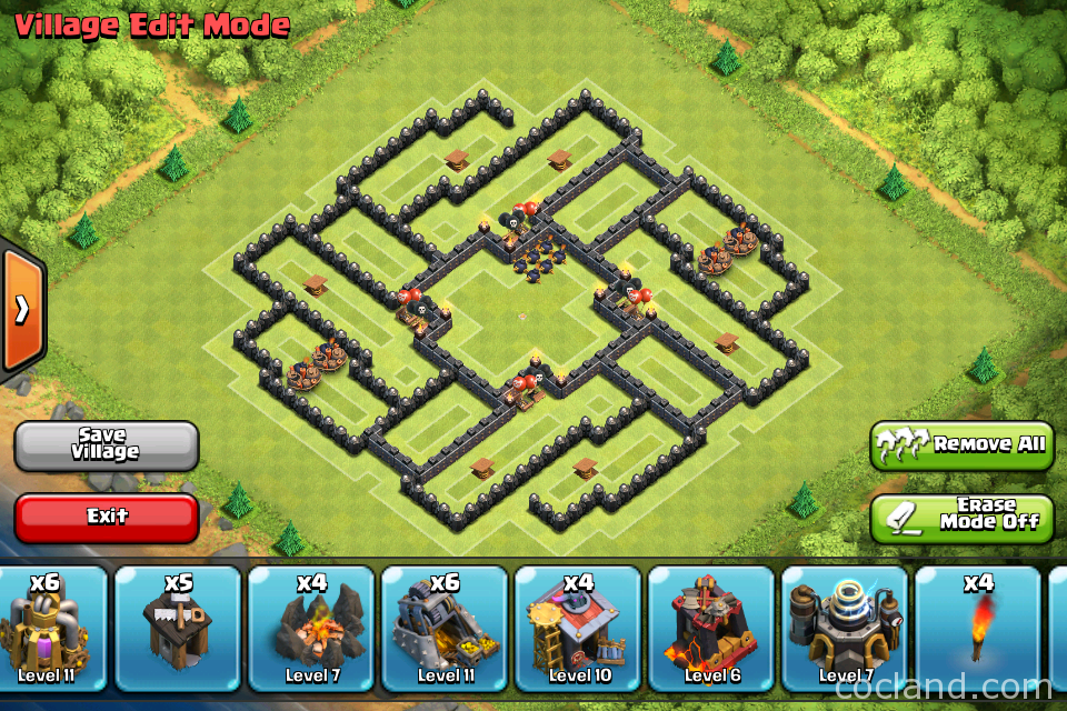 Deception anti hog and air trophy base for th9 coc land