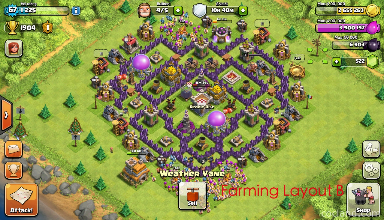 Farming Lady The Mantis Farming Base For Town Hall 7
