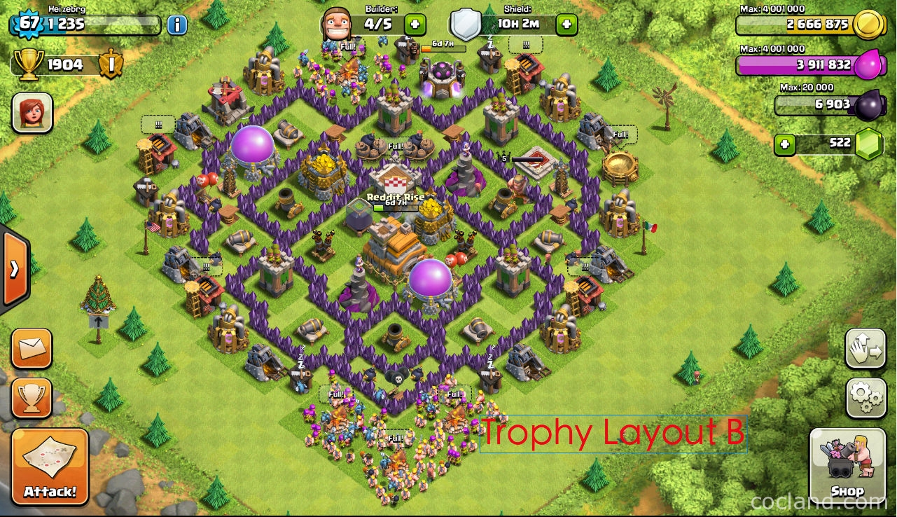 Amazing Town Hall 7 Home Base Design Part - 2: ... Base For Town Hall 7: The-mantis-th7-war-2