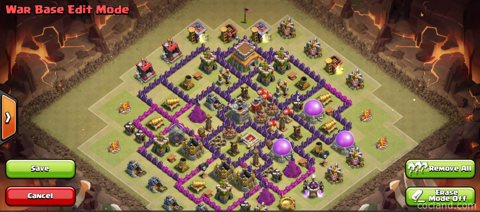Anti 3 stars mid th8 war base layout clash of clans land