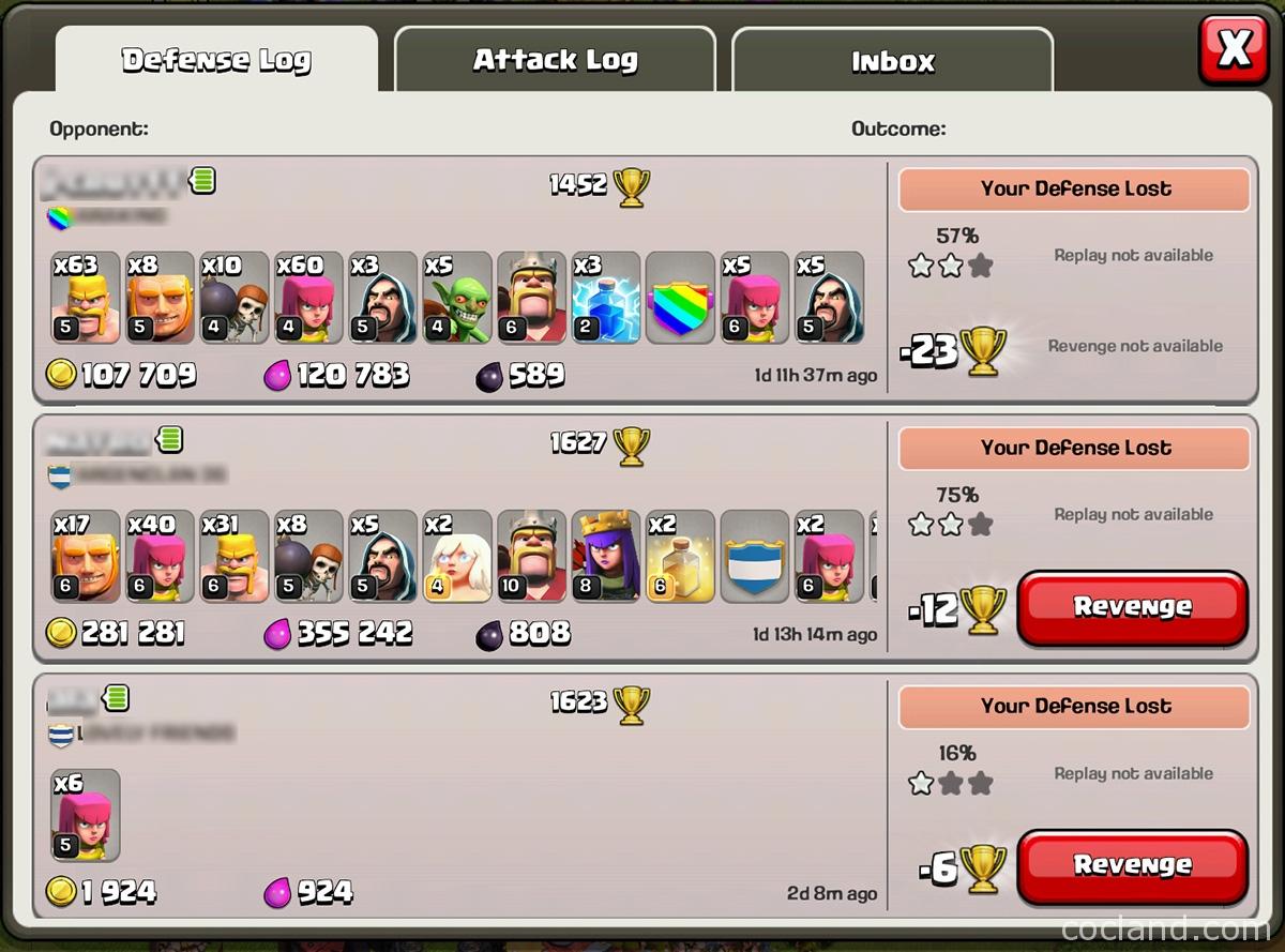 revenge menu in Clash of Clans