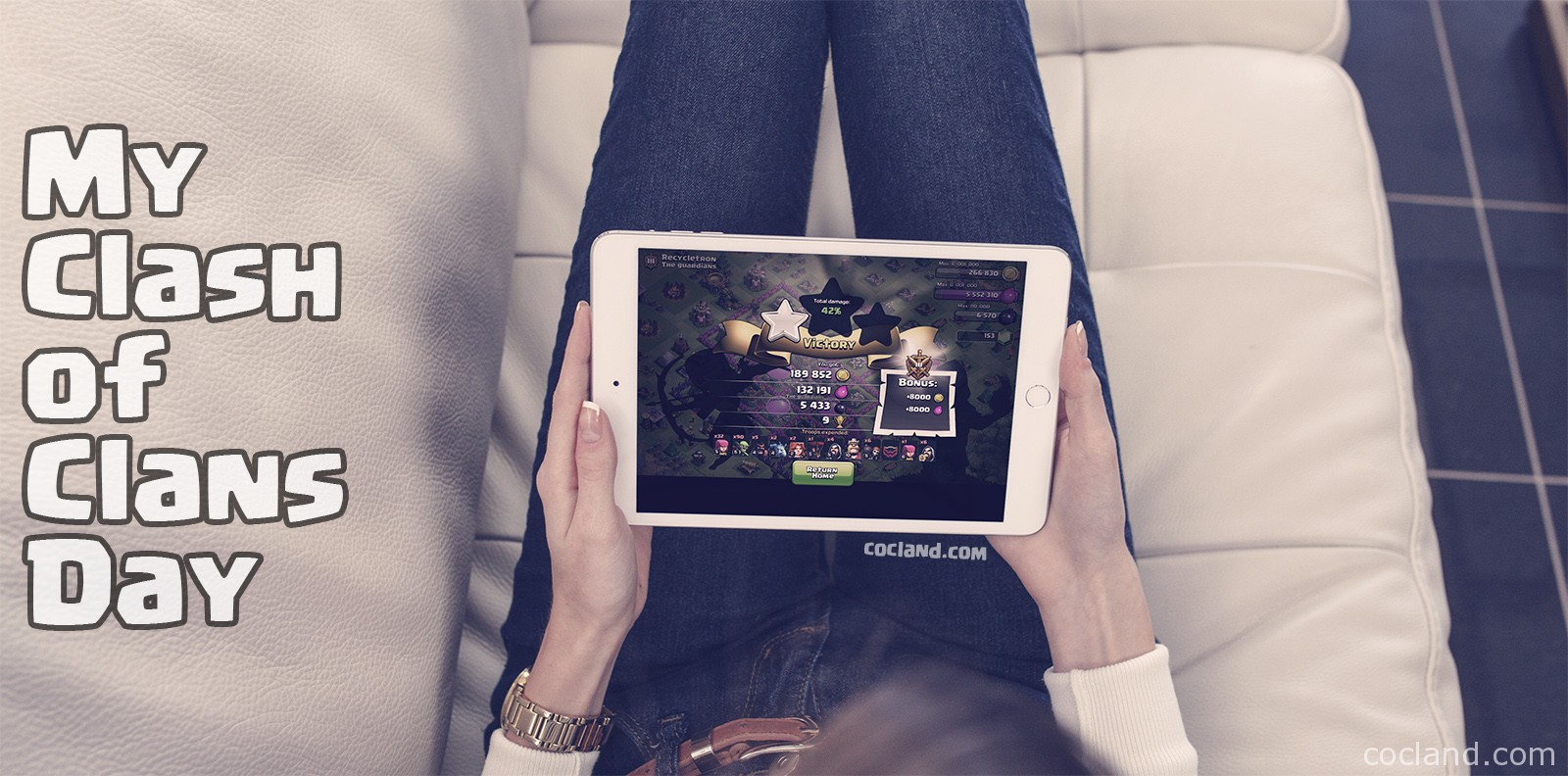 Girl playing Clash of Clans