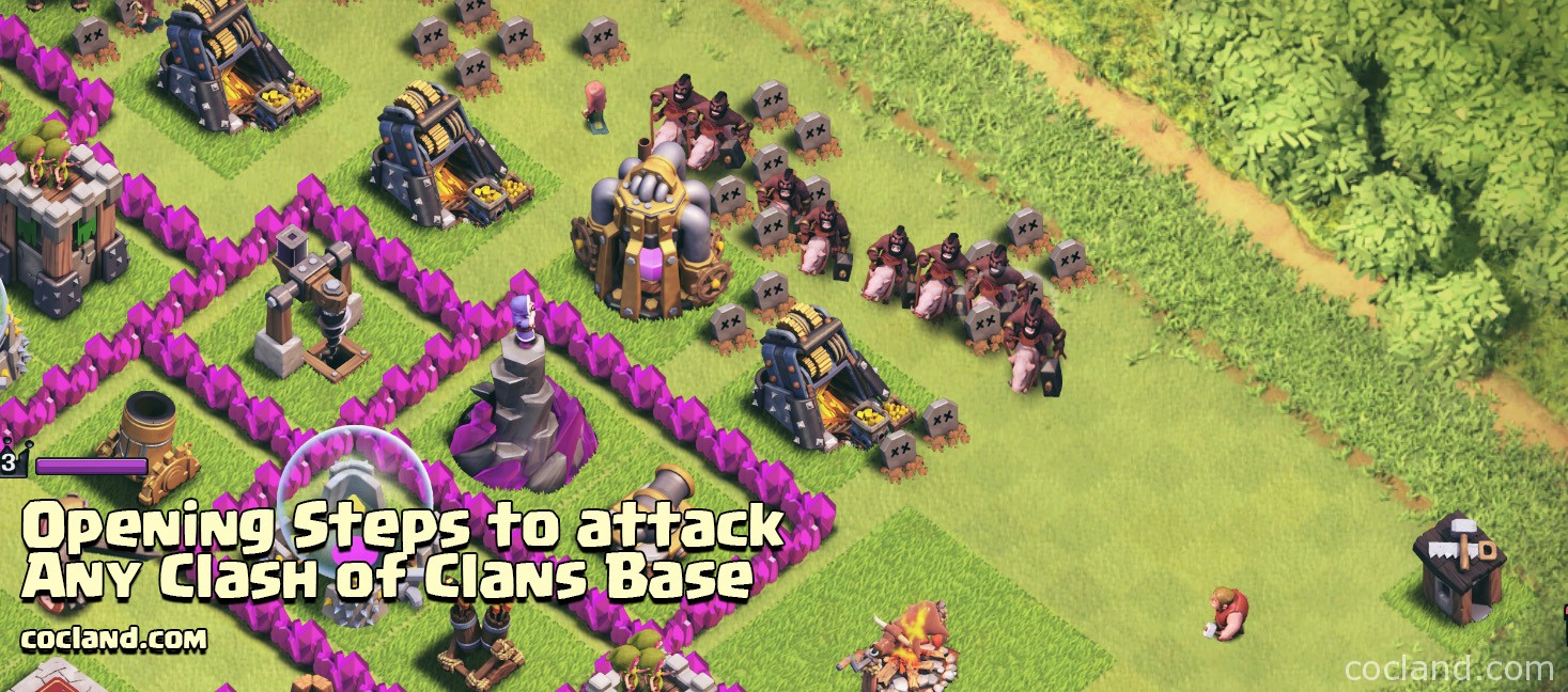 Start attacking a base in Clash of Clans