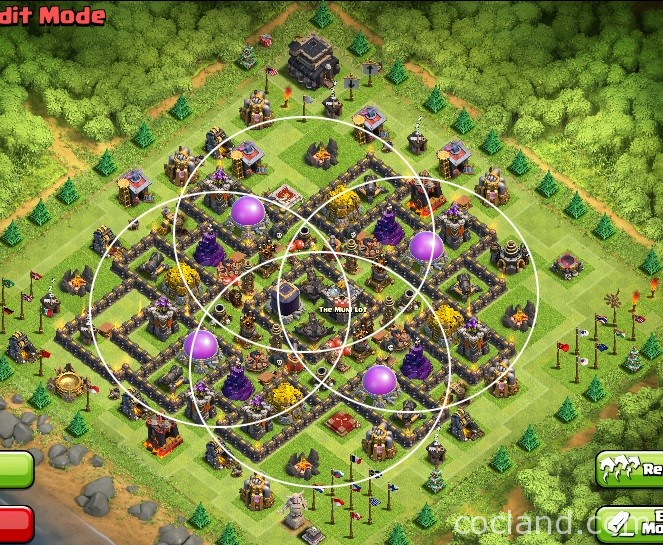 The whirlwind virtuosic farming layout for town hall 9 clash town hall 9 and the images below show you how the key defenses protect the base sciox Choice Image