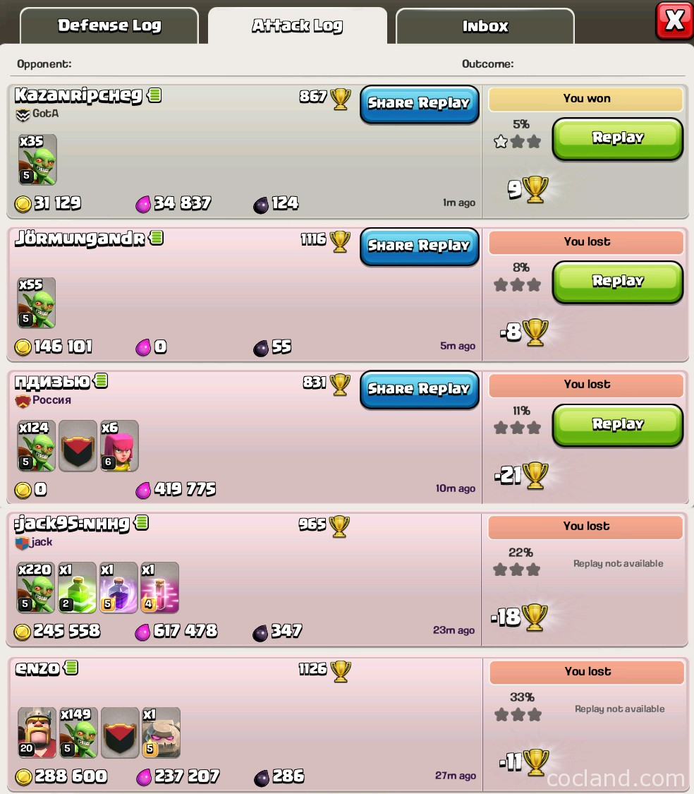 inactive bases in Clash of Clans