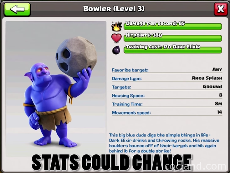 Bowler level 3 in Clash of Clans
