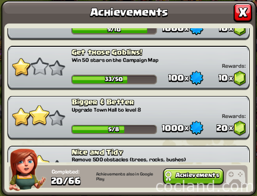 Clash of Clans Achievements Menu