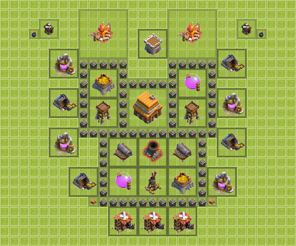 Clash of Clans Town Hall Level 4 Example