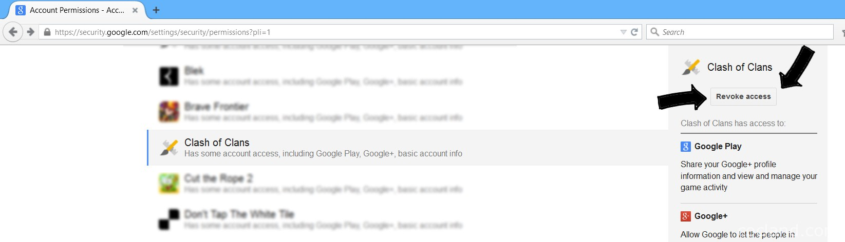 Removing Clash of Clans from Google Account