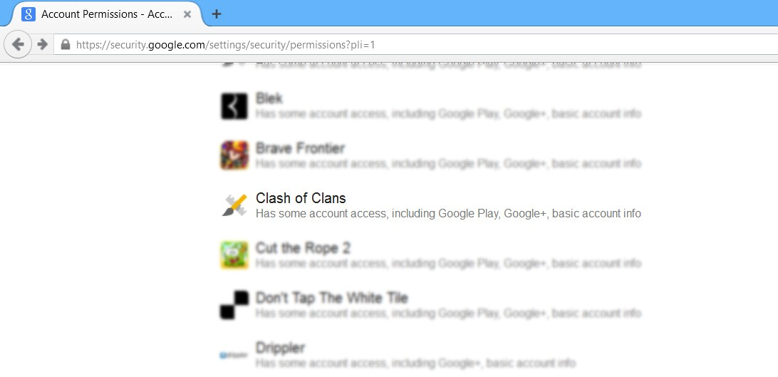 Remove Clash of Clans from Google step 1
