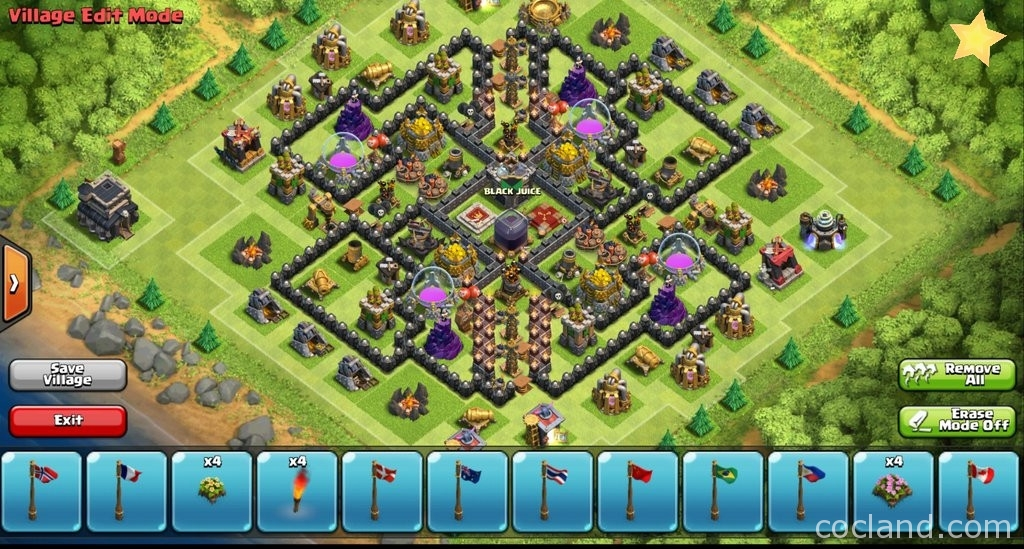 Royal river perfect town hall 9 farming base coc land
