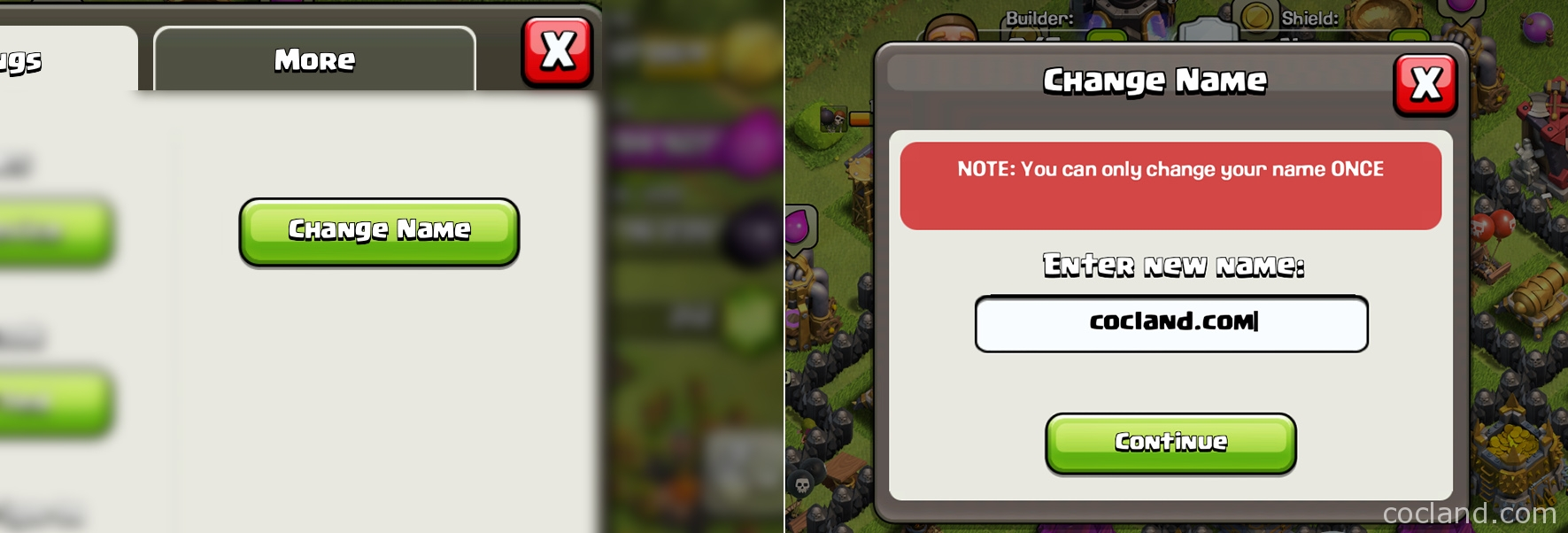 change clash of clans name first time