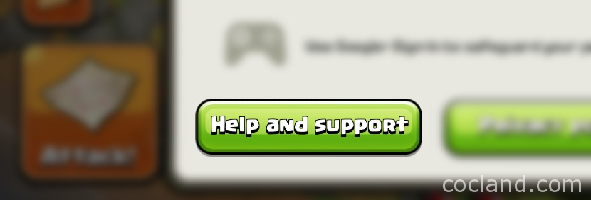 help and support menu Clash of Clans