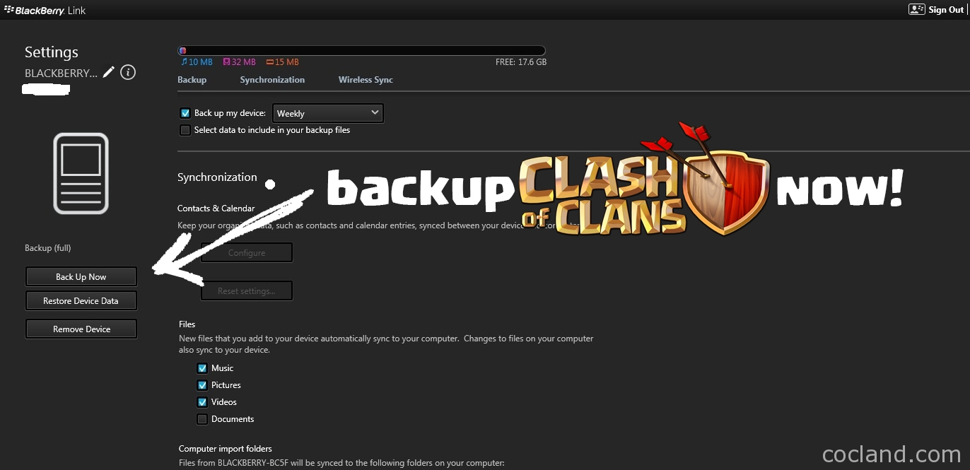 Backup Clash of Clans on BlackBerry