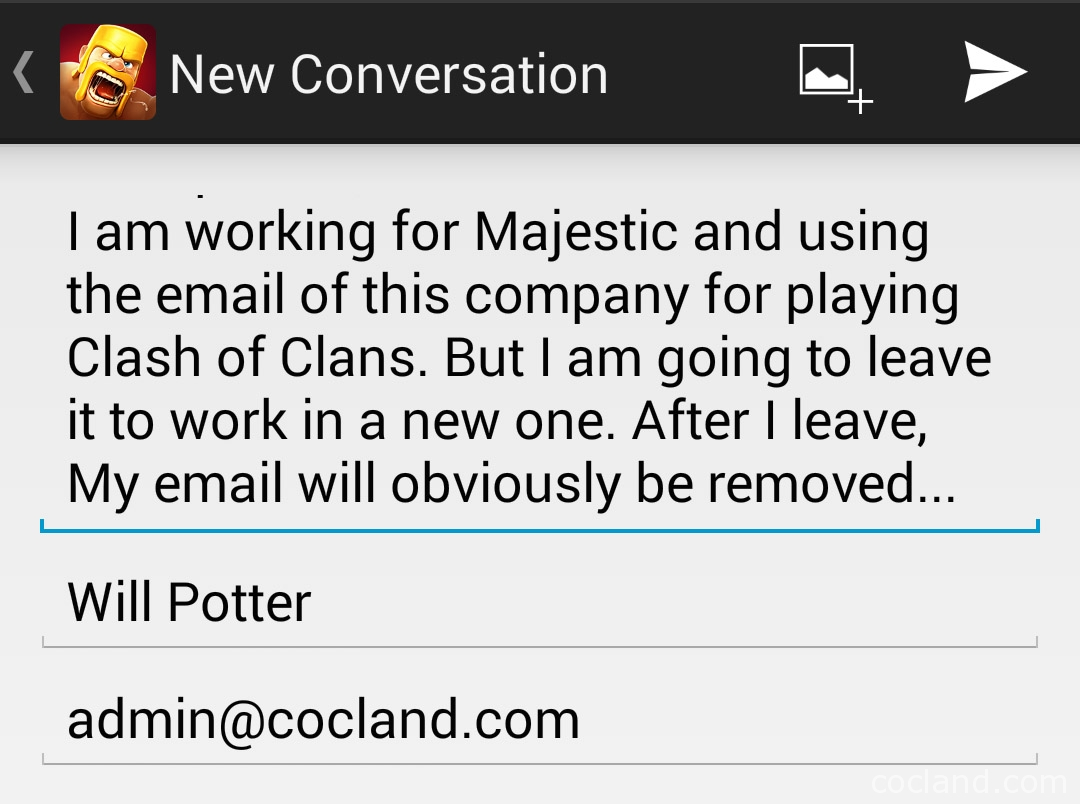 change Clash of Clans email