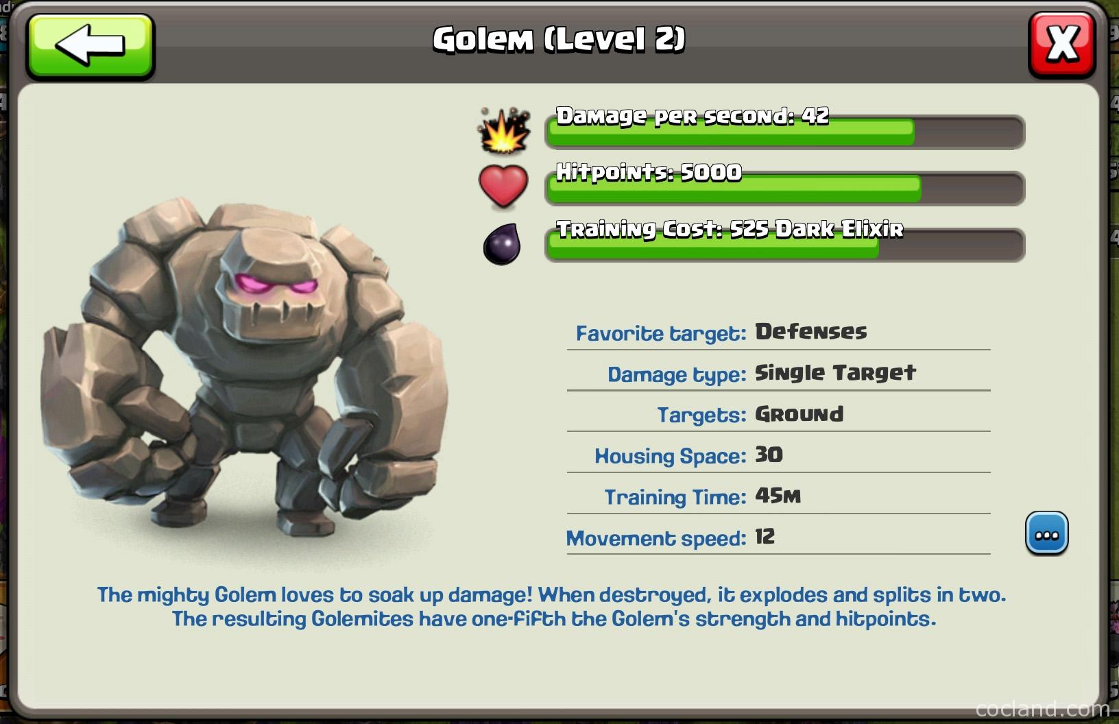 Golem's details