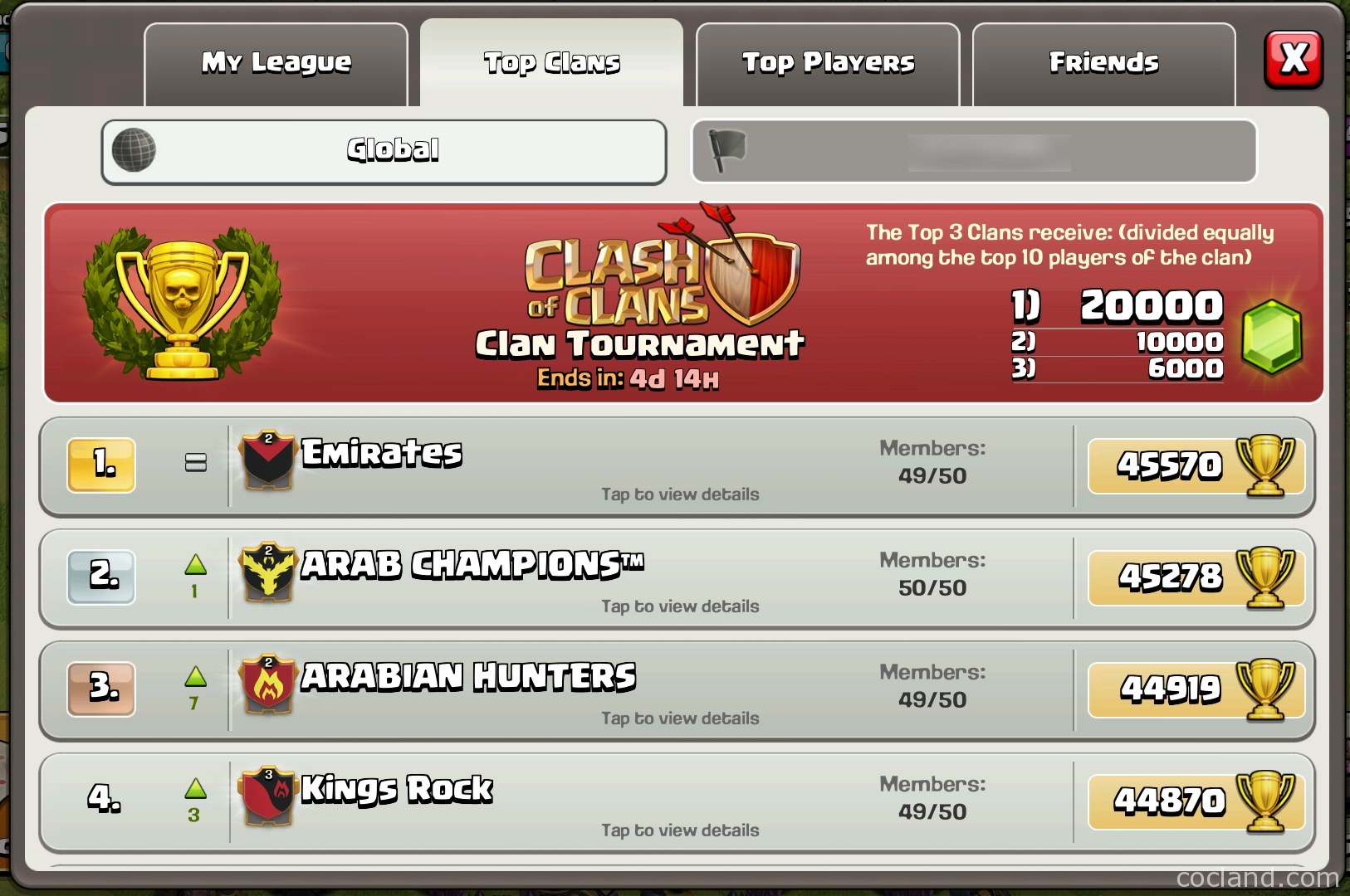 leaderboard clash of clans