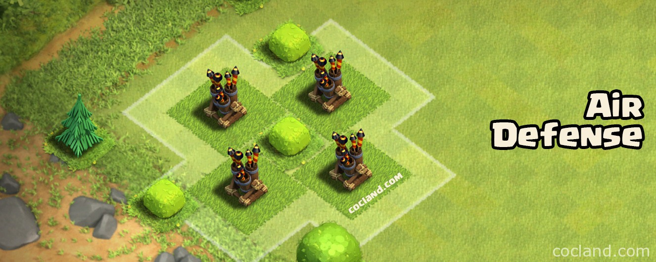 air defense guide clash of clans land