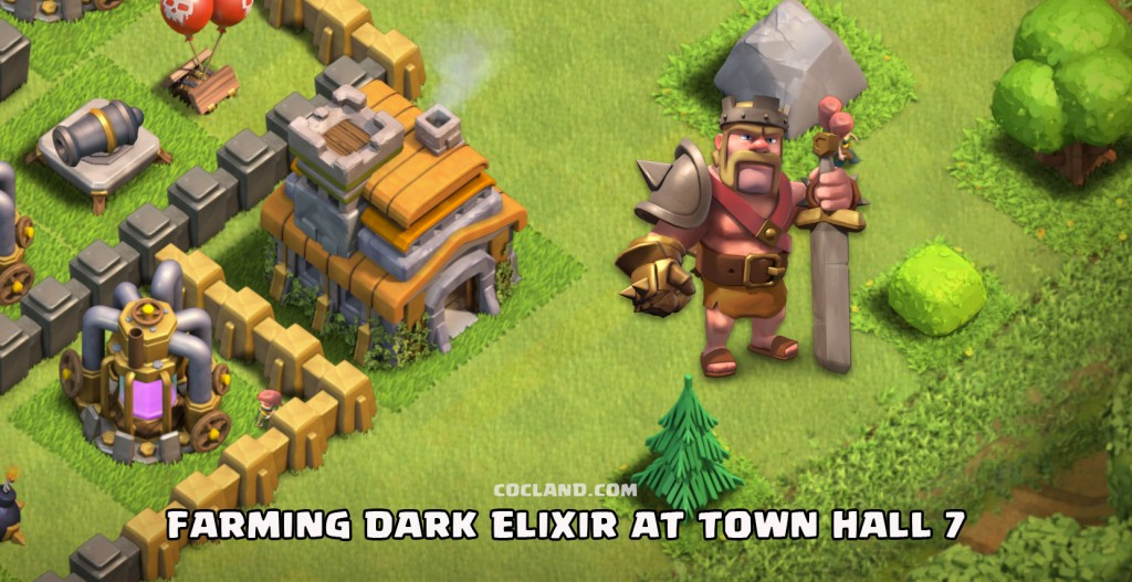 Farming Dark Elixir for the Barbarian King at TH7