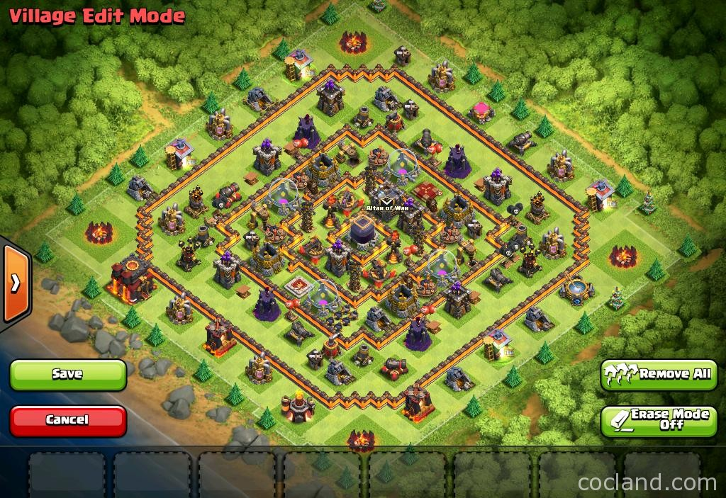 Hypercube x 275 walls th10 farming base layout clash of clans land