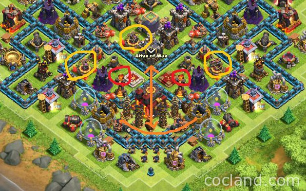 coc how to change archer tower range on war base