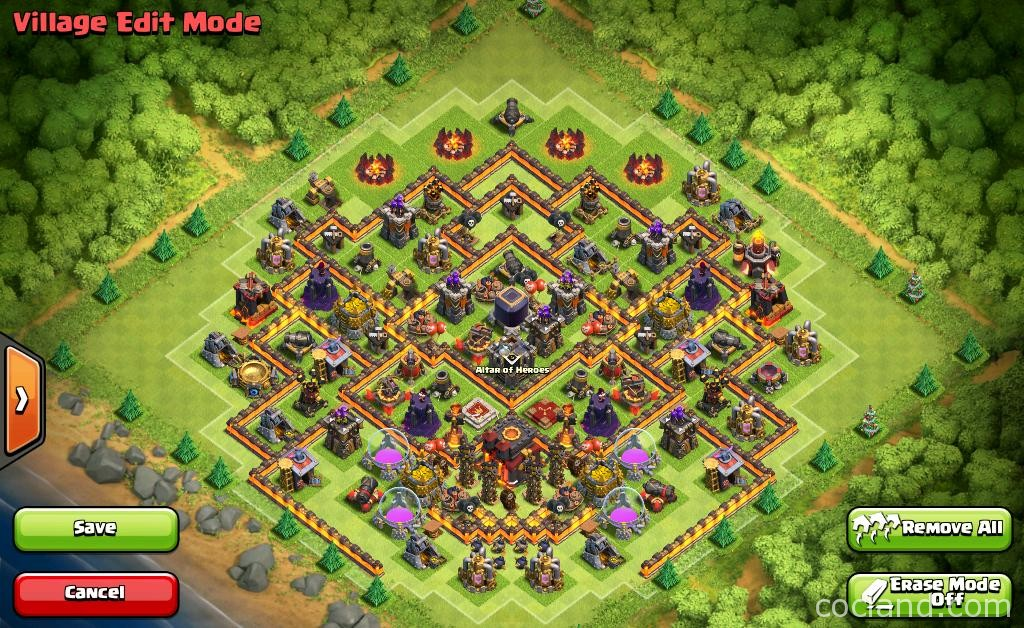 Top town hall 10 base layouts with 275 walls by ash clash of clans