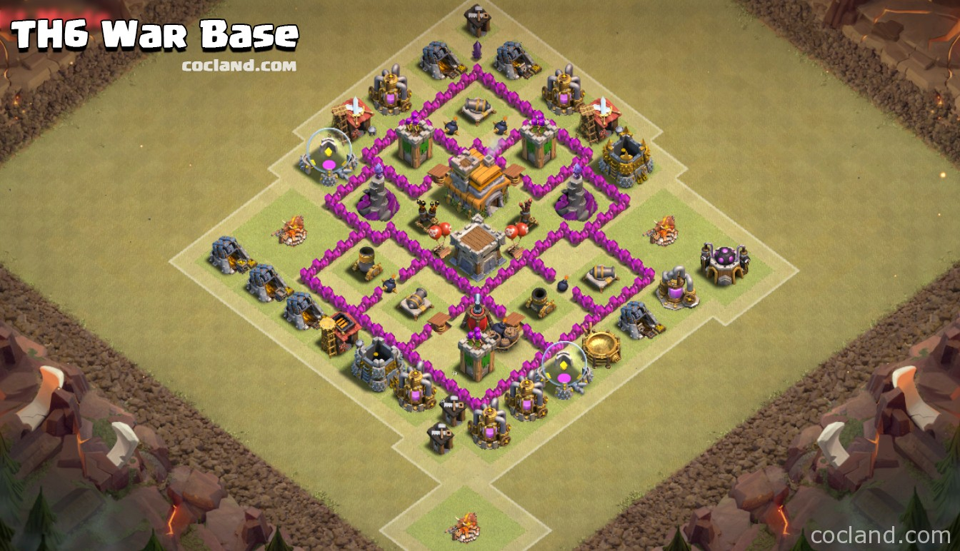 TH6 War Base with 2 Air Defenses